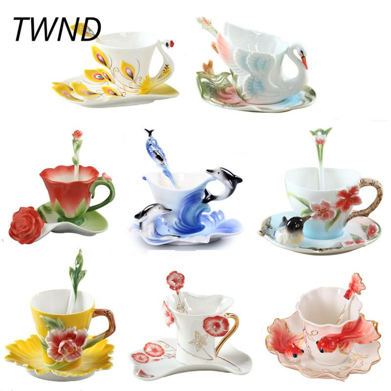 Émail tasses à café thé tasses et tasses avec soucoupe cuillère ensembles porcelaine marque Europe créative verres ami amant cadeau