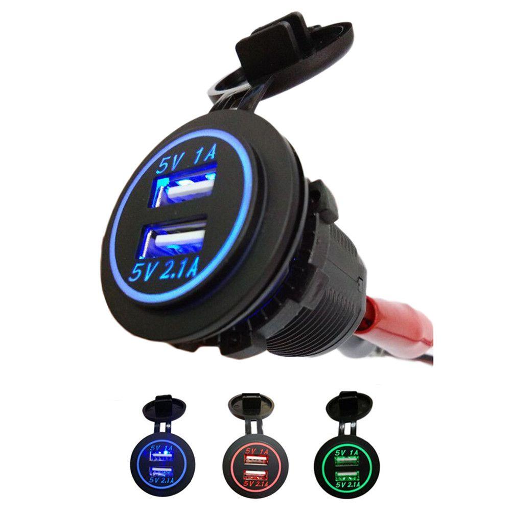 Водонепроницаемый автомобиля Зарядное устройство 12 В-24 В Универсальный двойной USB Автомобильное Авто-прикуриватели светодиодный цифровой ...
