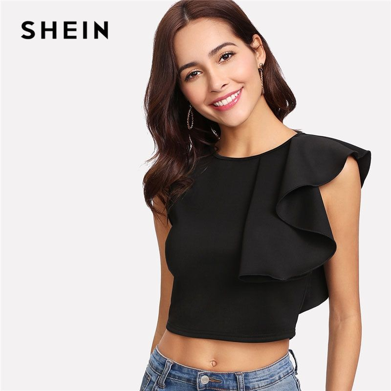 SHEIN Sexy Black Ruffle Crop Tank Top Women New Clothing Round Neck Zipper Plain Top Vest 2018 Summer Slim Party Vest