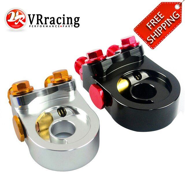 VR RACING - FREE SHIPPING Aluminum AN10 OIL COOLER ADAPTER SANDWICH TURBO WITH Thermostat And FITTING 3/4-16 UNF,M20*1.5 VR6746