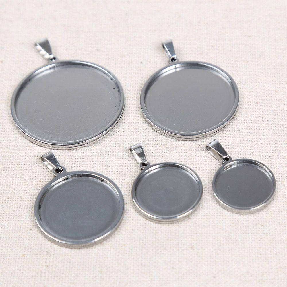 Reidgaller 10 pièces acier inoxydable 18mm 20mm 25mm 30mm 35mm dia cabochon base réglage bricolage pendentif blanc plateau pour la fabrication de collier