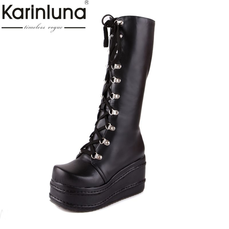 KarinLuna big size 34-43 hot sale fashion punk cosplay boots woman shoes platform winter party wedge high heels knee high boots