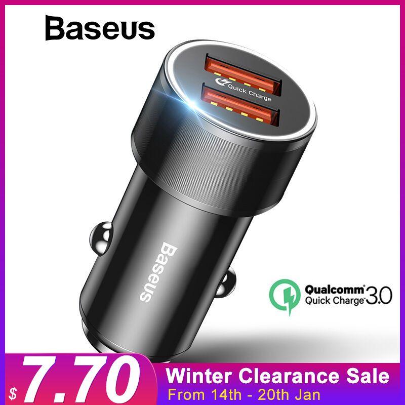 Chargeur rapide USB Baseus 36W double QC 3.0 chargeur de voiture pour iPhone USB Type-C PD chargeur rapide pour téléphone portable chargeur rapide de voiture