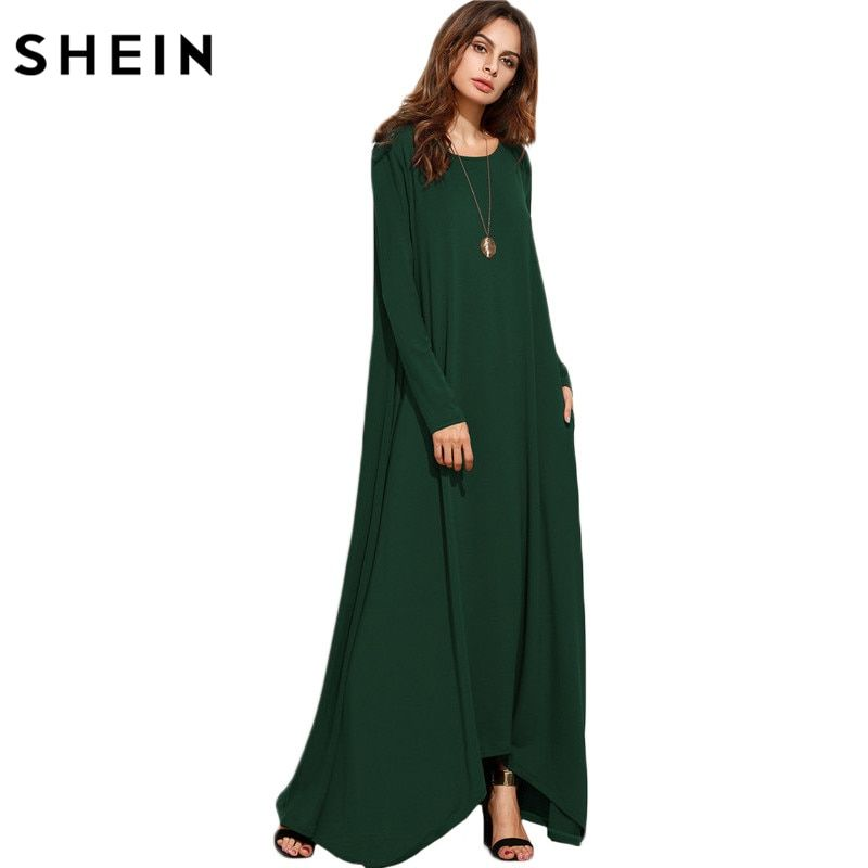 SHEIN Women Asymmetrical Long Dresses Loose Long Sleeve T-shirt Dress Spring Autumn Casual With Pocket Shift Maxi Dress