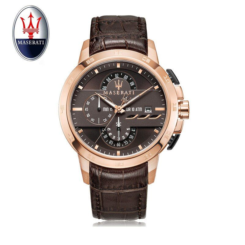 Maserati Men Watch Multi Function Quartz Watch Brand Luxury Trend Men's Large Dial Watch Leather Sports Waterproof Wristwatch