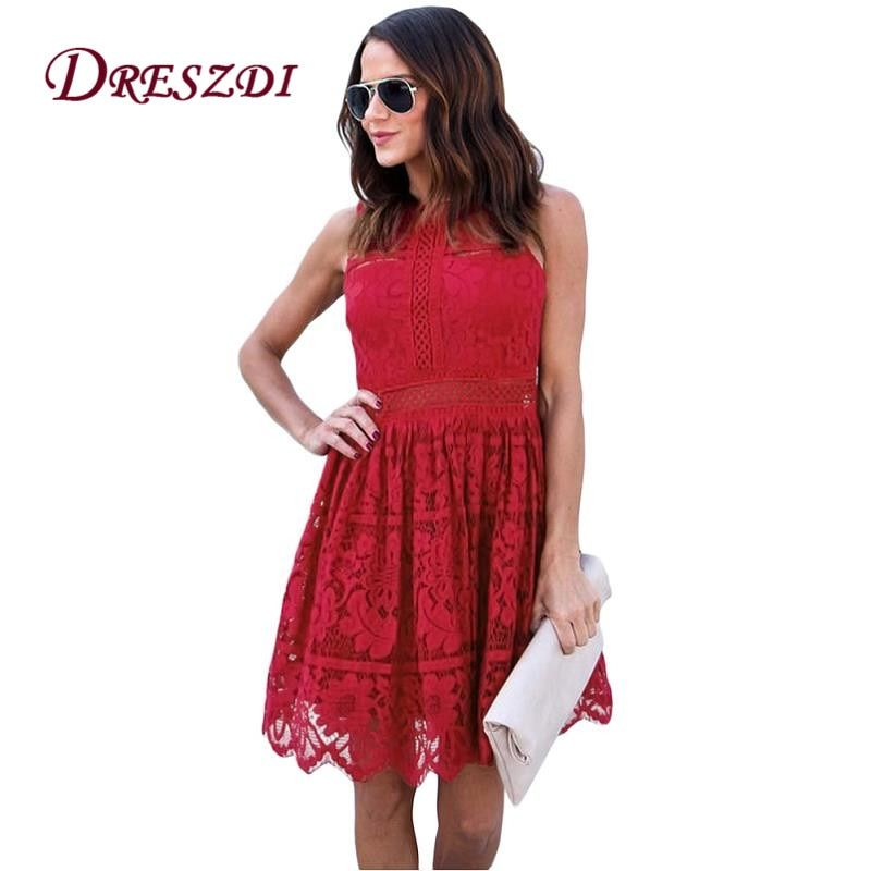 Dreszdi Red Sweet Short Lace Dress Women High Waist Cute Mini Dress Sleeveless Skater Dress vestido de verano