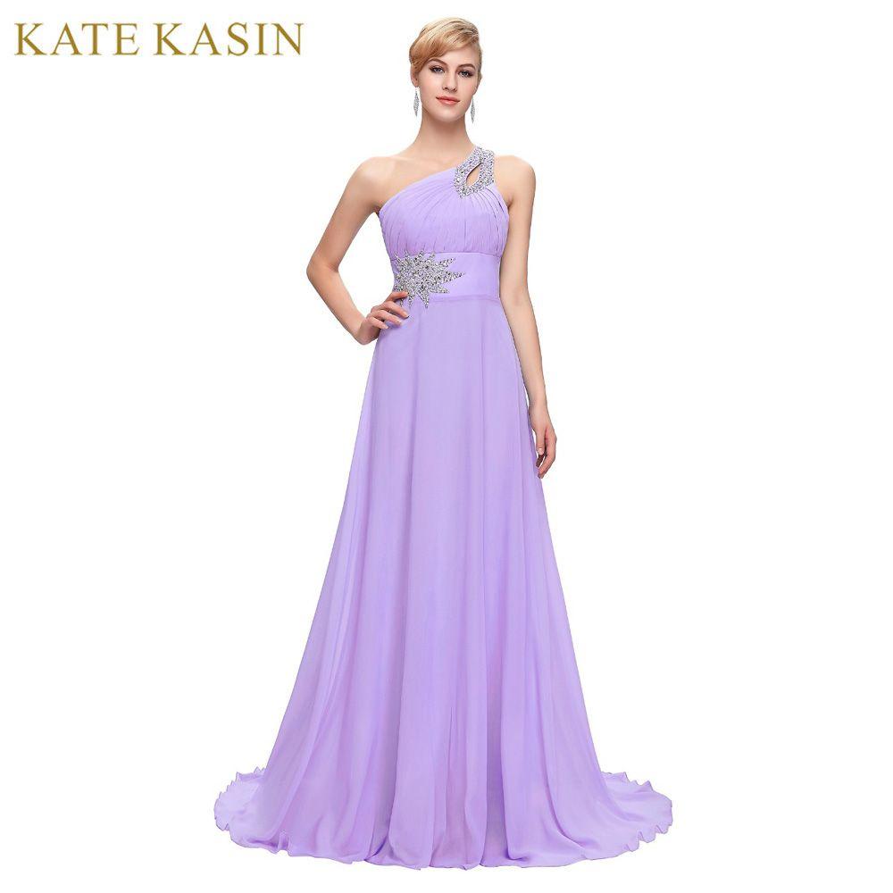 Entrega gratuita Gasa Larga dama de Honor Vestidos de Un Hombro Que Rebordea el Azul Real Púrpura Rojo Rosa Barato Vestido de Dama de honor Vestido de 2949