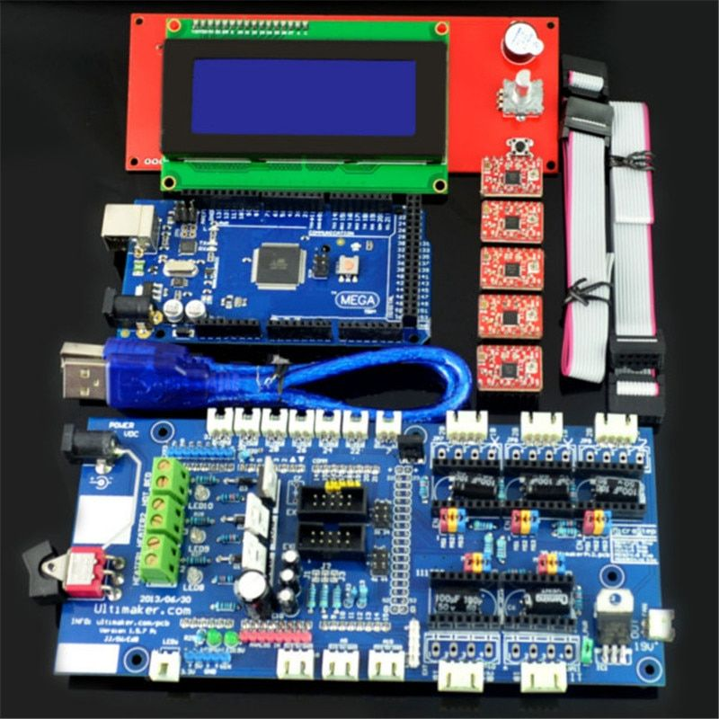 New Arrival RAMPS 1.57 Control Board LCD 2004 Board Mega 2560 R3 A4988 Driver Kit For 3D Printer Durable Quality