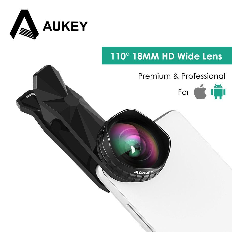 AUKEY Lens Optic Pro Phone Lens 18MM HD Wide Angle Cell Phone Camera Lens Kit 2X More Landscape for iPhone X 8 7 Samsung Xiaomi