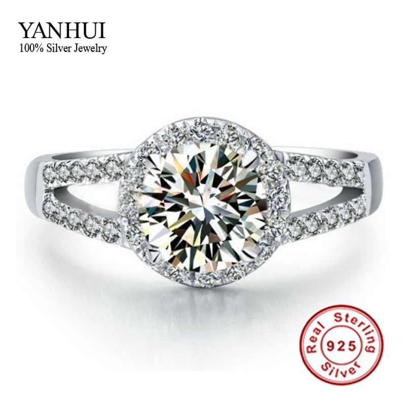 Lose Money Promotion!!! 100% Solid 925 Sterling Silver Ring Inlay 2 Carat CZ Diamant Engagement Wedding Rings For Women JZR047
