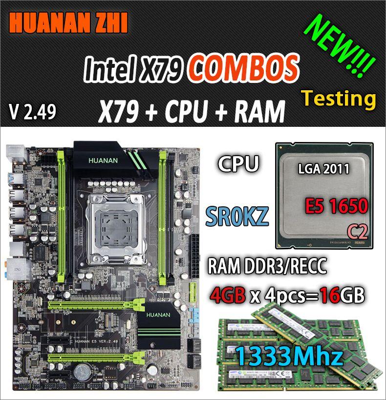 HUANAN ZHI V2.49 X79 motherboard LGA2011 ATX combos E5 1650 C2 SR0KZ 4x4G 16 GB 1333 Mhz USB3.0 SATA3 PCI-E NVME M.2 SSD