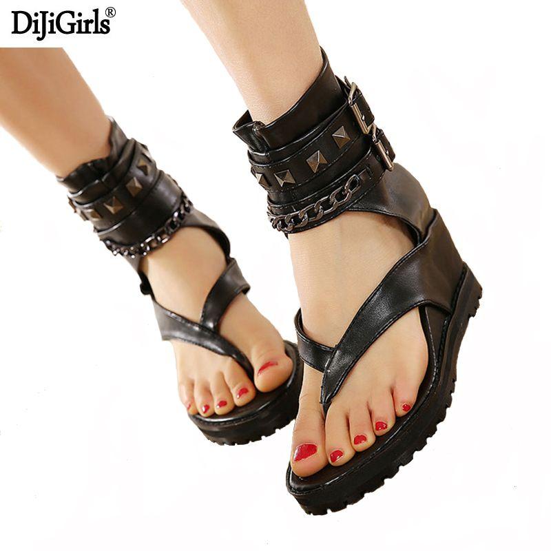 Plate-forme d'été sandales cheville chaussures punk chaîne rivets gladiateur sandales femmes tongs femmes chaussures talons et compensées sandale