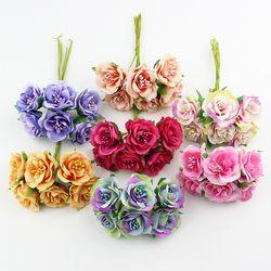 Huadodo 6 unids 3 cm seda Rosa estambre artificial flor bouquet para scrapbook decorativo del arte de DIY flores