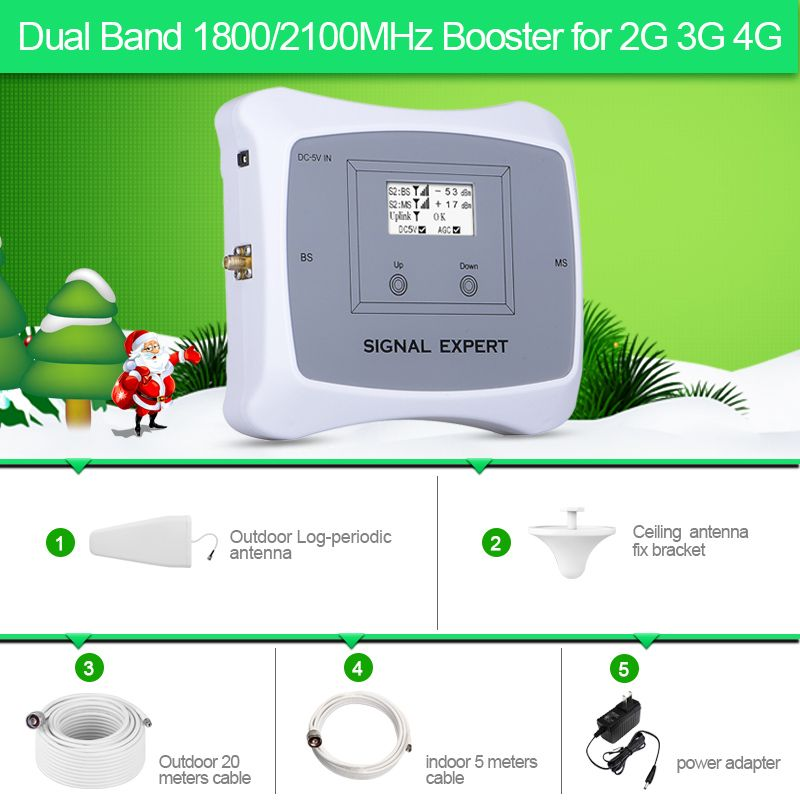 New Arrival!LCD display 2g 3g 4g mobile signal booster DUAL BAND 1800/2100mhz cellular signal cell phone repeater amplifier kit