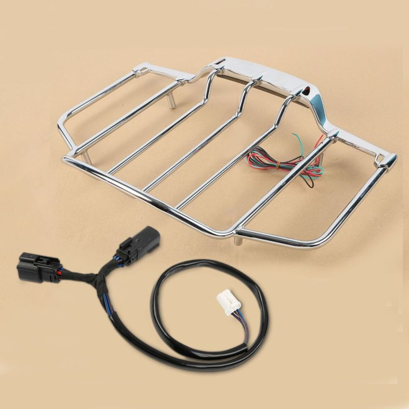 Chrome Tour Pak Pack Top Luggage Rack w/ LED For Harley Touring Electra Glide