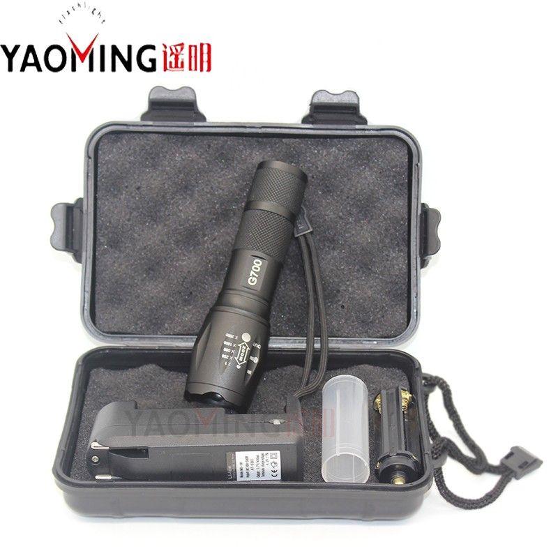 Potente Linterna Led CREE XM-L T6 2300LM LED E17 Zoomable Antorcha Lámpara Que Acampa Táctico Linterna + Cargador + Regalo caja