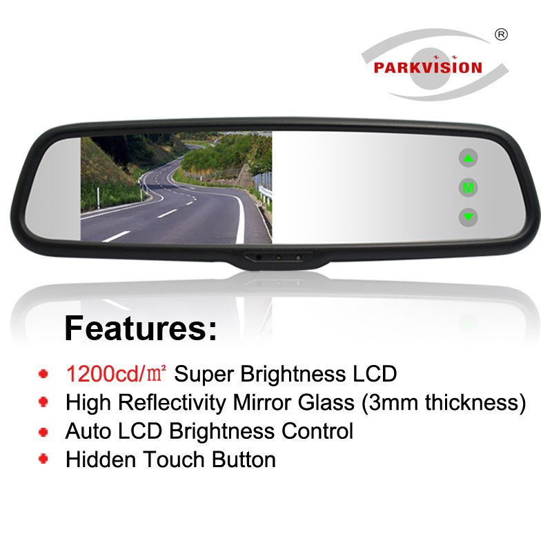 PARKVISION 1500 cd/m2 Auto High Brightness LCD Car Rearview Mirror Monitor High Reflectivity Mirror Glass 9 Parking Line