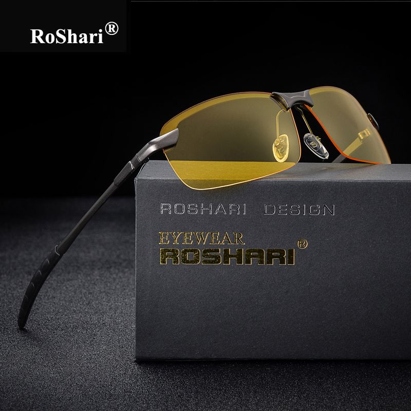 RoShari Men Glasses Car Drivers Night Vision Goggles Anti-Glare Sun glasses men Polarized Driving Sunglasses gafas oculos de sol