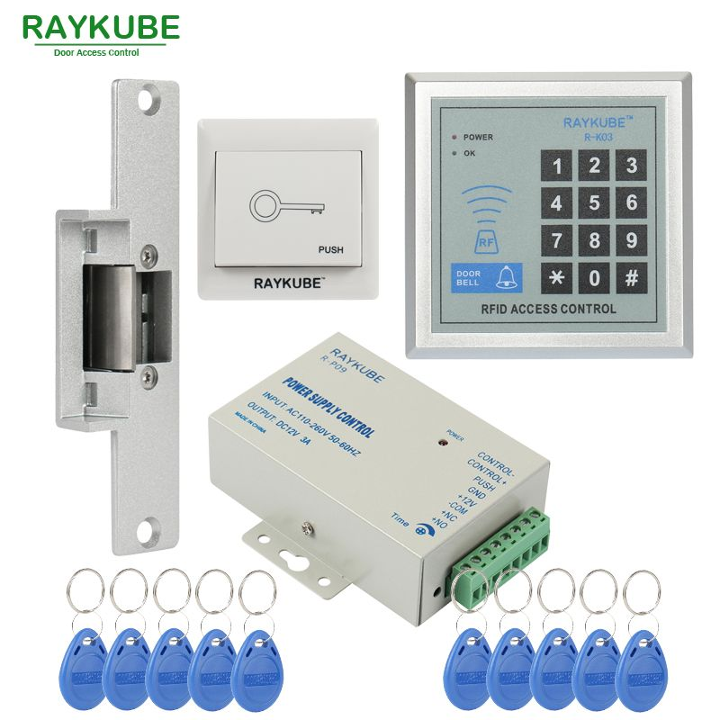 RAYKUBE Special Offer Access Control Kit Electric Strike Lock + Password Keypad RFID Reader Counter Strike