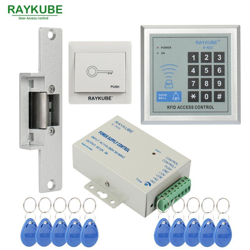 RAYKUBE offre spéciale Kit de contrôle d'accès serrure électrique + mot de passe clavier RFID lecteur compteur grève