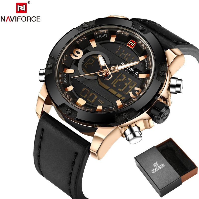 NAVIFORCE Original Luxury Brand Leather Quartz Watch Men Clock Digital LED Army Military Sport Wristwatch relogio masculino