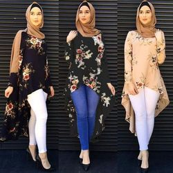 Мусульманское Абая платье рубашка блузка топы с цветочным принтом свободные стиль плюс размеры исламская костюмы Ближний Восток длинные х...