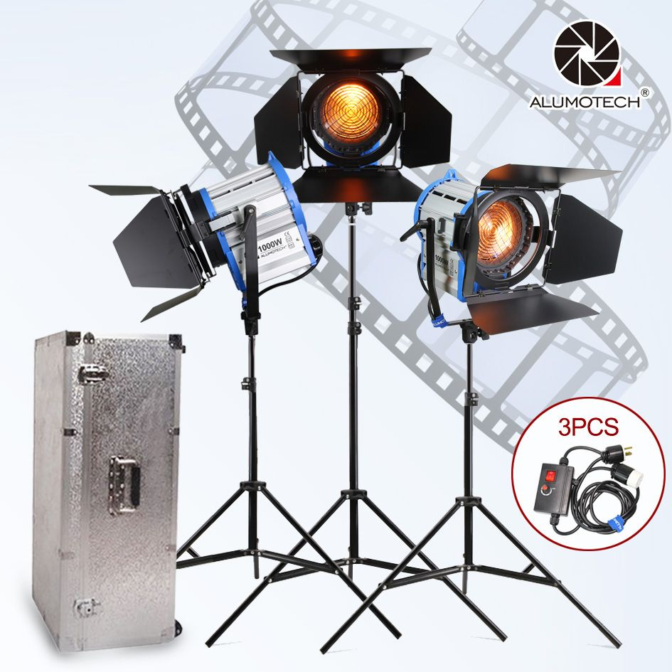 ALUMOTECH Fresnel Tungsten Spot light 1000W*3+Aluminium case+stand+3 dimmer+3 stands Kit