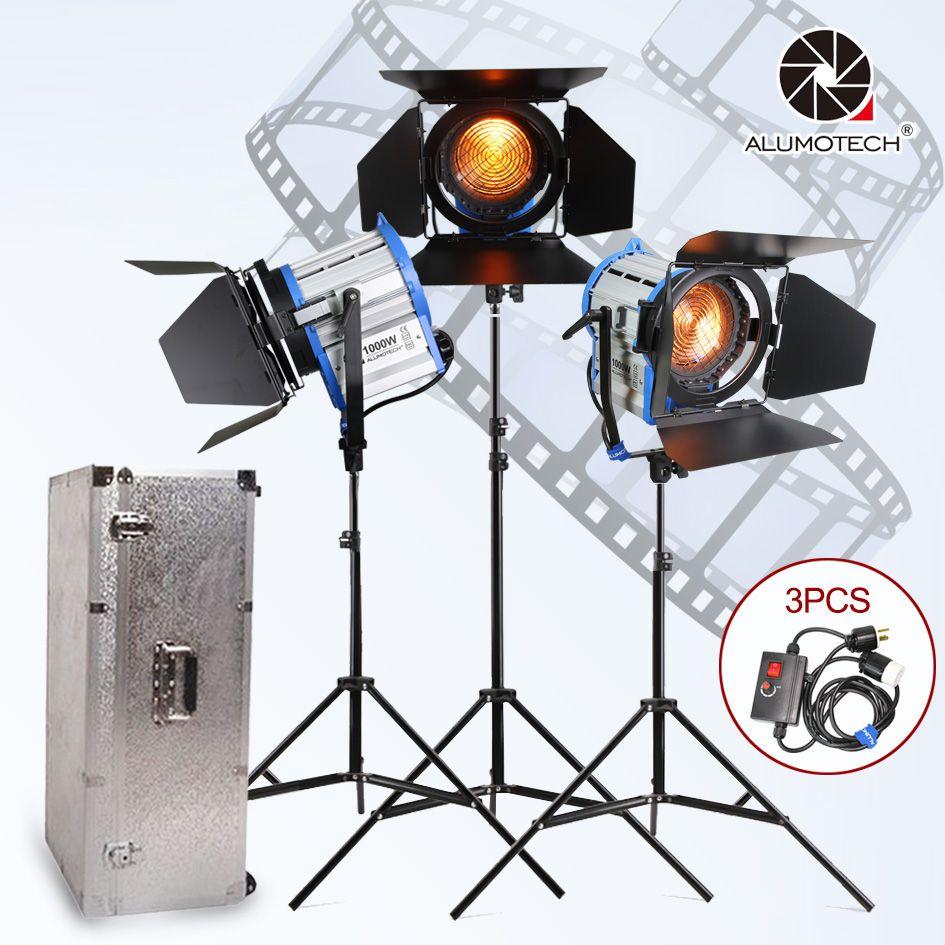 ALUMOTECH Fresnel Wolfram Spot licht 1000 watt * 3 + Aluminium fall + ständer + 3 dimmer + 3 steht kit