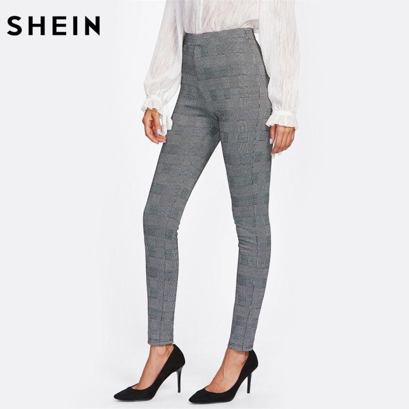 SHEIN High Waisted Pants Autumn Elegant Trousers Women Grey Plaid Stretchy Pants Ladies Elastic Waist Skinny Pants