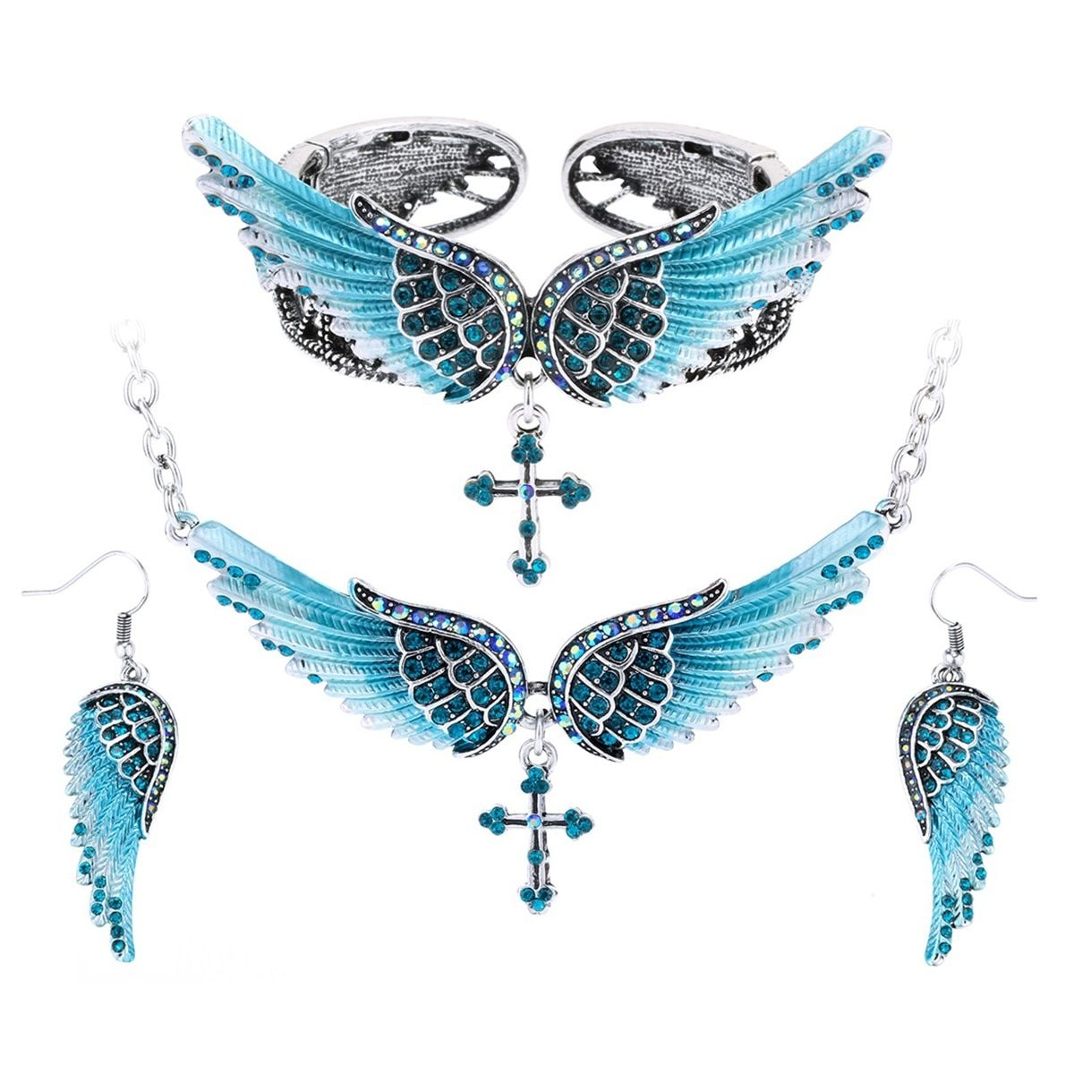Angel wing cross necklace earrings bracelet sets women biker jewelry birthday gifts  women her girlfriend dropshipping SBENC01