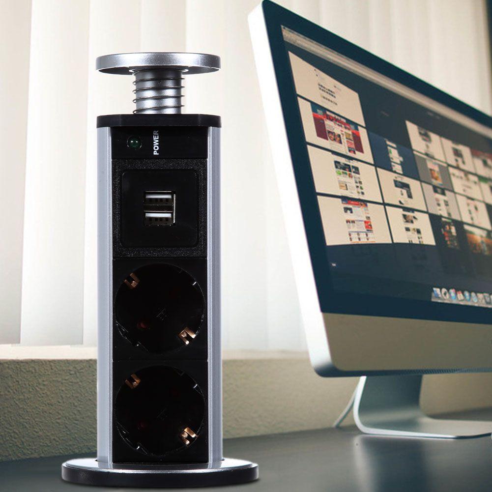 220V 16A PULL POP UP Electrical 3 Plug Socket 2 USB Kitchen Table Plug Sockets Retractable for Countertops Worktop UK/EU Plug