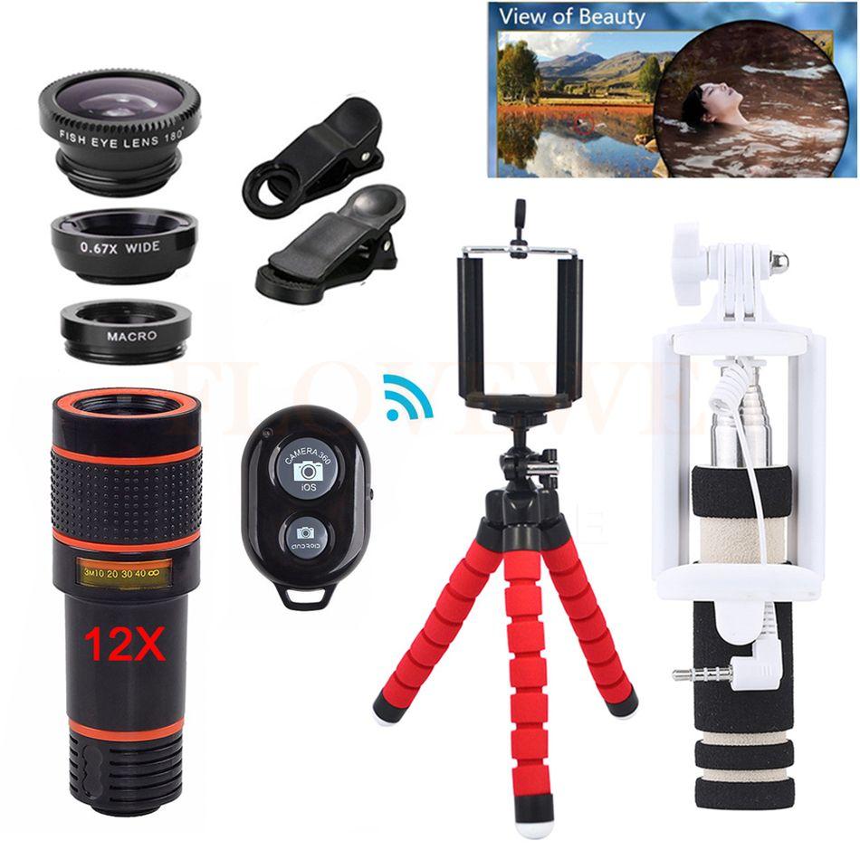 Téléphone Caméra lentilles Kit 12X Téléobjectif Zoom Lentes + Trépied Clips + Grand Angle Macro Fisheye 12in1 Objectif Pour Cellulaire téléphone iPhone 6 s 7