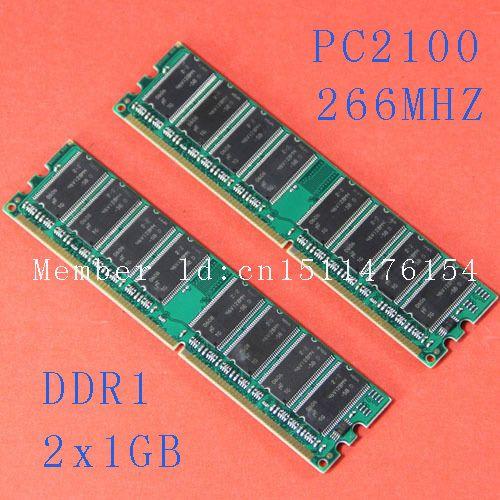 Nouveau Bureau 2X1 GB DDR DDR1 PC2100 ddr266 266 MHz PC-2100 BROCHES Faible Densité DIMM Mémoire CL3 RAM Module Livraison gratuite