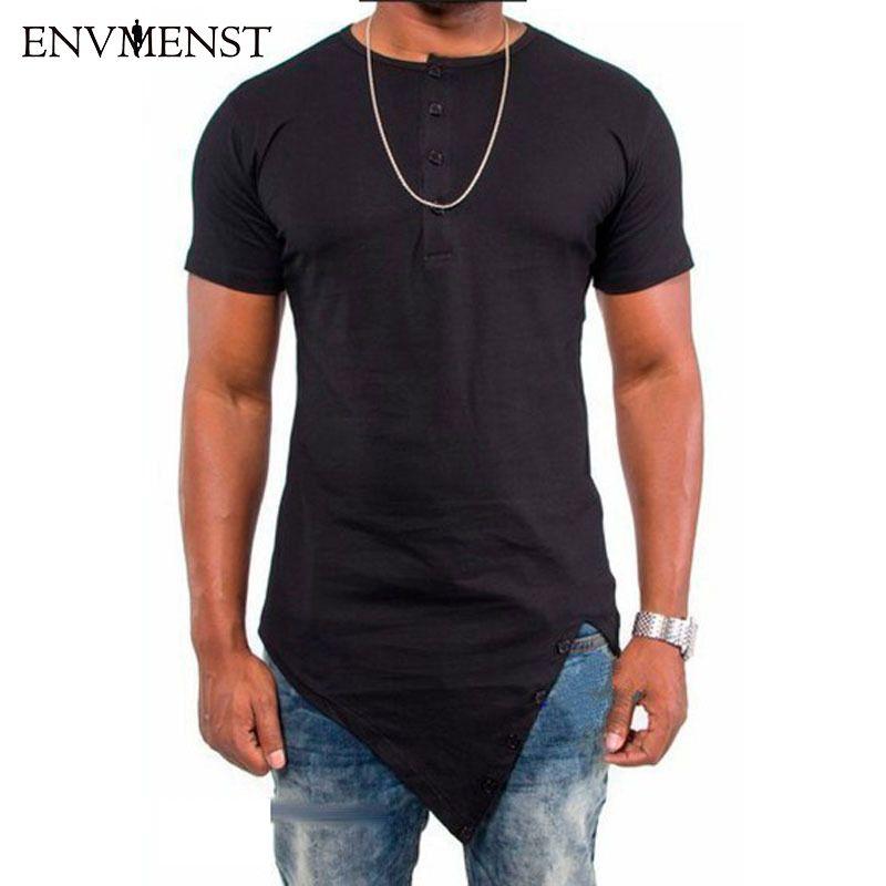 2017 Асимметричный разработан с длинным Стиль футболка для Для мужчин кнопка способа Рубашка с короткими рукавами Для Мужчин's футболки одноц...