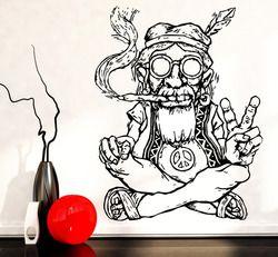 Desain baru Vinyl Stiker Dinding Dekorasi Rumah Ruang Tamu Hippie Dalam Gelas Merokok Weed Marijuana Perdamaian Simbol Etnis Decor SA174