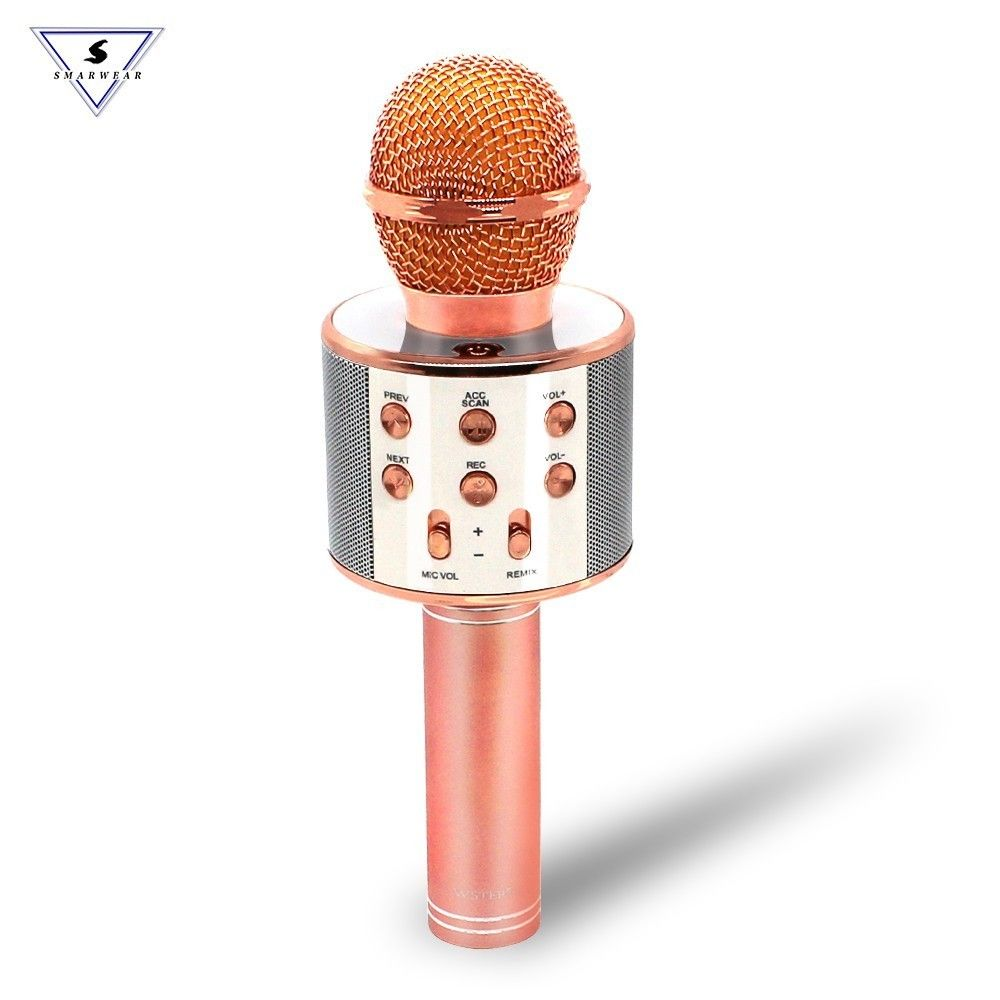 WS858 Wireless Karaoke Microphone Portable Bluetooth mini home KTV for Music Playing and Singing Speaker Player Selfie PHONE PC