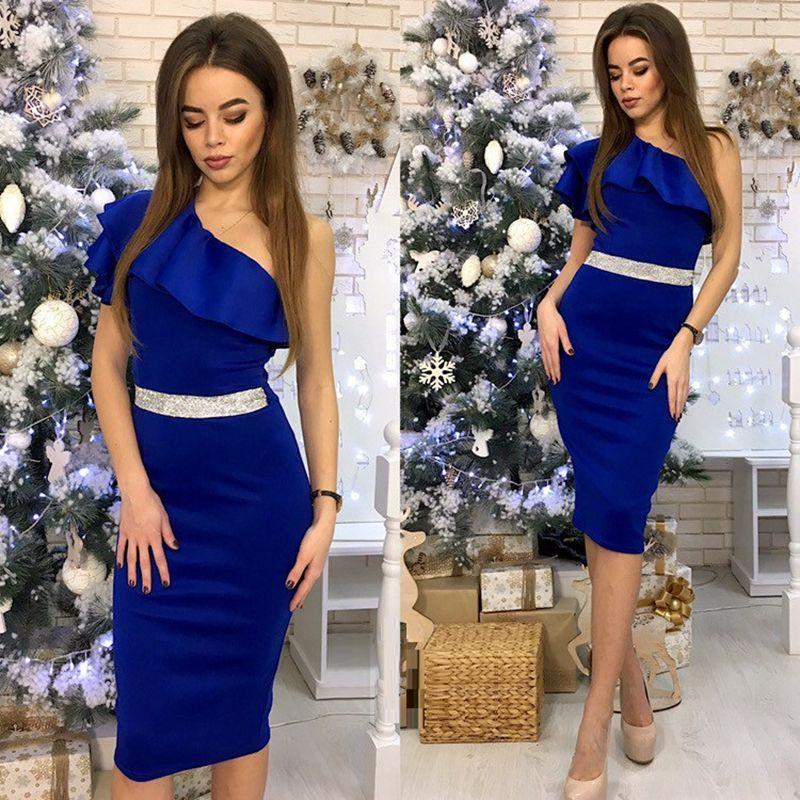 Une épaule pente sans manches taille haute moulante robes 2019 nouveauté femmes Patchwork à volants Sexy 4 couleur robe de soirée