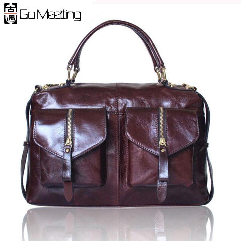 Go Meetting Vintage Genuine Leather Women Handbags High Quality Cow Leather Shoulder Crossbody Bag Totes Messenger Bags Handbag