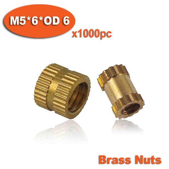 1000pcs M5 x 6mm x OD 6mm Injection Molding Brass Knurled Thread Inserts Nuts