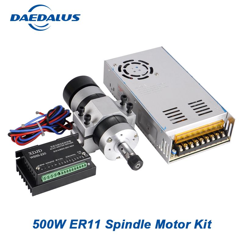 CNC Spindle 500W Brushless Air Cooled Spindle ER11 55MM Clamp Bracket Adjustable Power Supply Stepper Motor Driver Controller