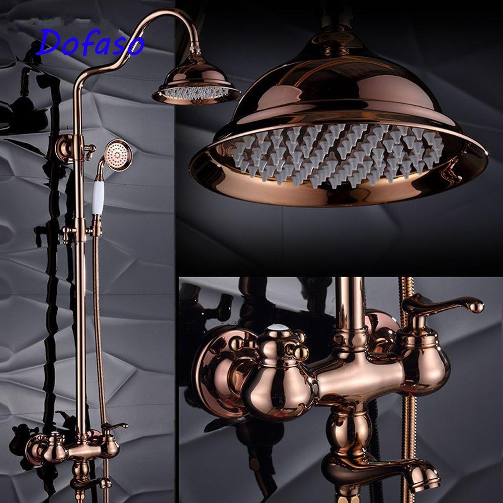 Dofaso quality luxury gold rose bath shower faucets antique special shower set tap mixer big rain 20cm head shower