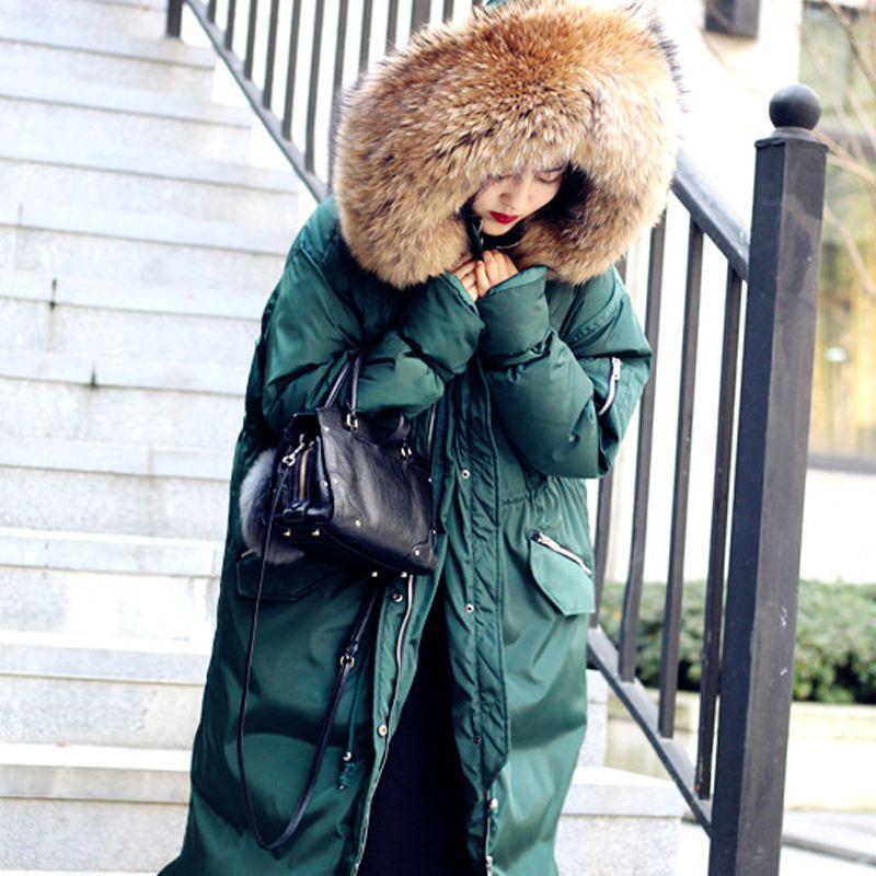 Marke 2018 neue winter ente unten jacke verdickung weibliche warme kleidung frauen lange mantel parkas waschbären pelz kragen hohe qualität