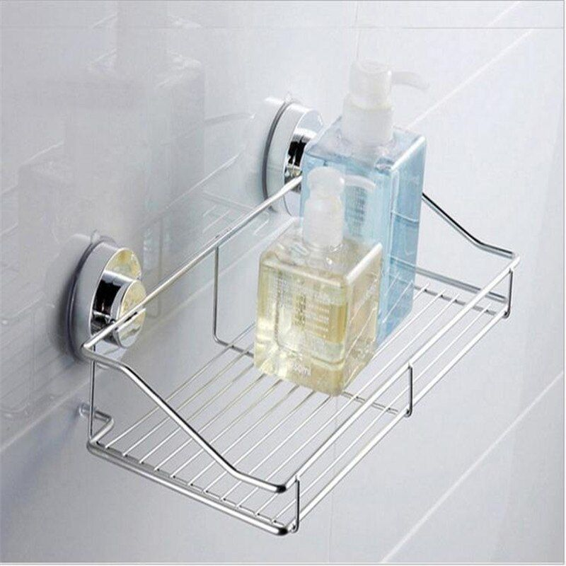 Strong Suction Shower Basket Dual Sucker Bathroom Shelf Washing Room/Kitchen Corner Basket Wall Mounted Storage Rack
