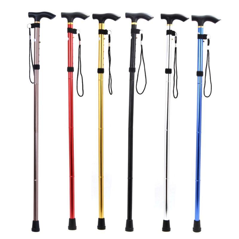 Walking Trekking Stick Ultra-light 4-Section Adjustable Foldable Aluminum Alloy Trekking Pole Alpenstock For Camping Hiking