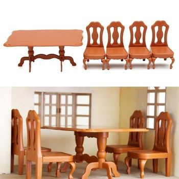 DIY Miniatura Furniture Dining Tables Chairs Sets For Mini Doll House Miniatures Furniture Toys Gifts For Children Adult