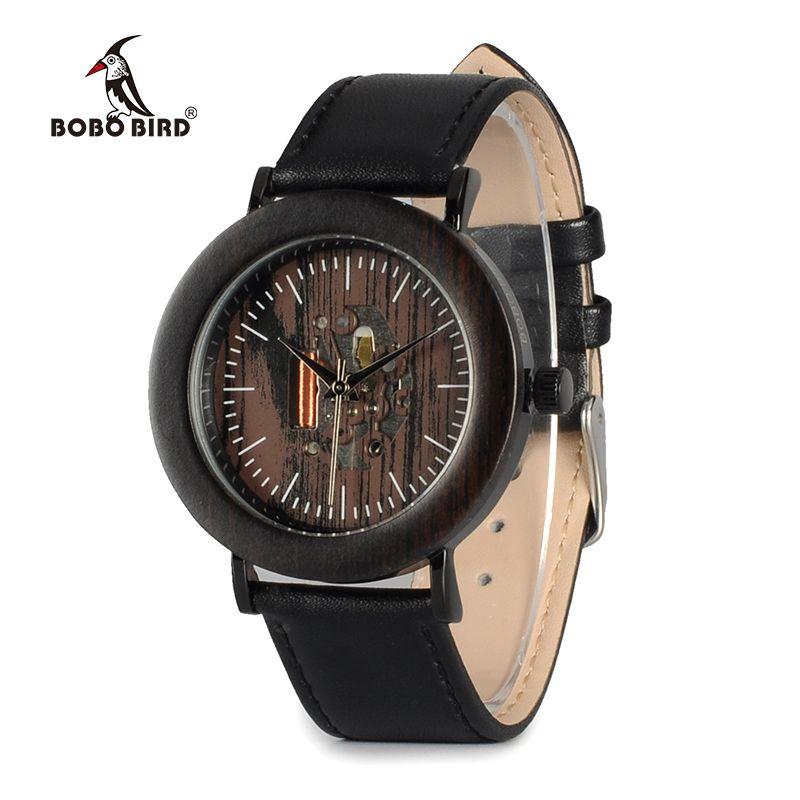 BOBO BIRD WK18 Brand Design Women Watches Exposed Movement Black Soft Leather Band montre relojio feminino Accept Drop Shipping