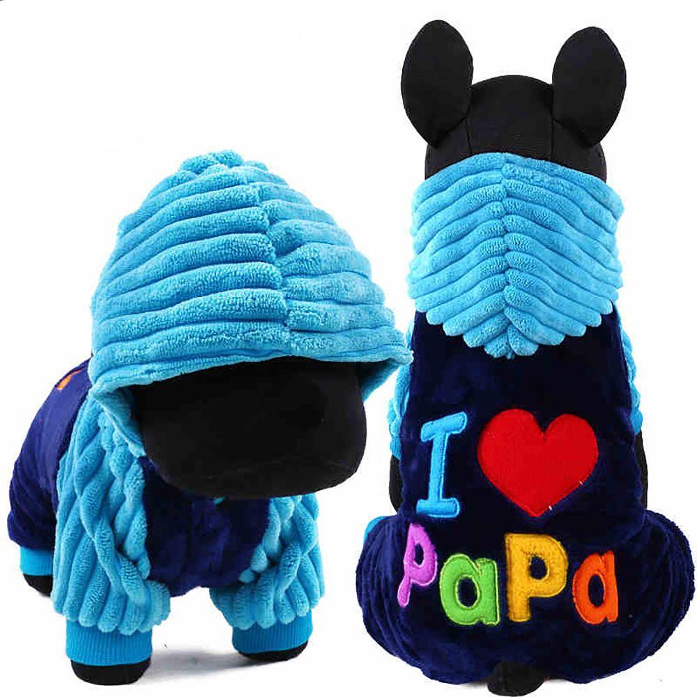 Мода I Love Papa and Mama зимой собака одежда Костюмы для домашних животных Малый большой собаки комбинезон куртка XXS XS размеры S, M, L