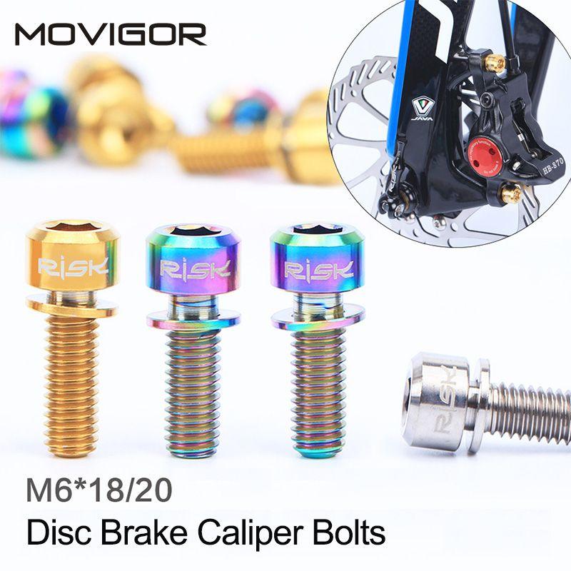 4 stücke m6 * 18mm m6 * 20mm titanium legierung schrauben für disc bremssattel clamp mtb bike fahrrad schraube mit scheibe dichtung m6x18mm m6x20mm