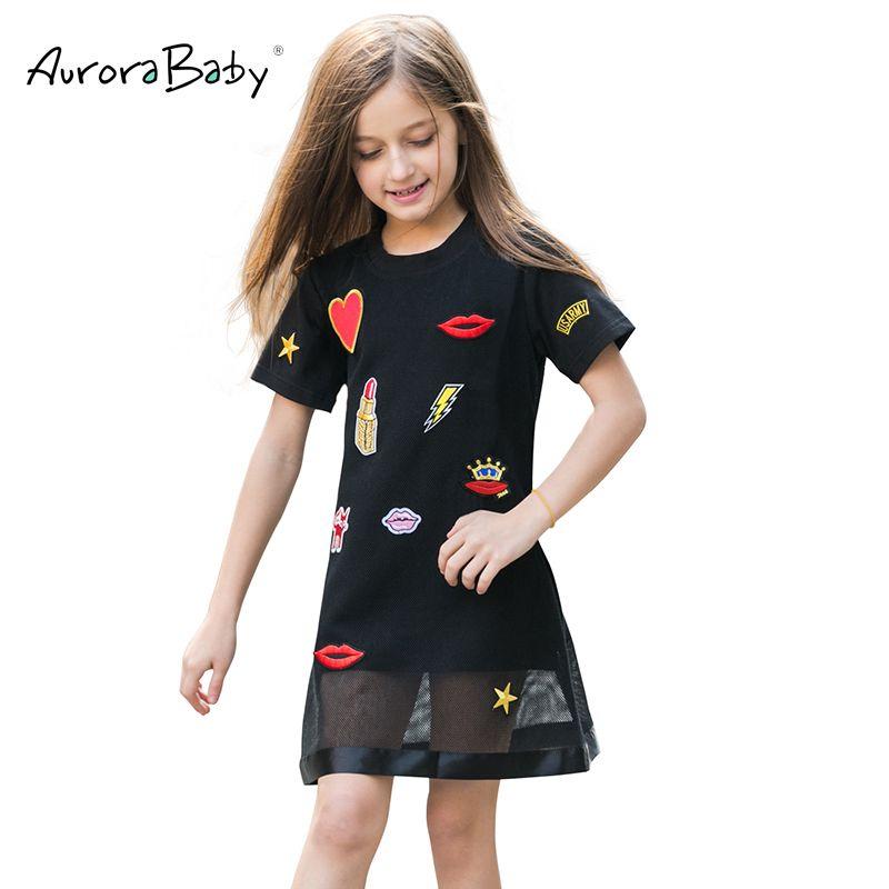 Aurorababy маленьких и больших Обувь для девочек Повседневное милое платье Размеры 7–16 хлопок черный для Свадебная вечеринка аппликация платье ...
