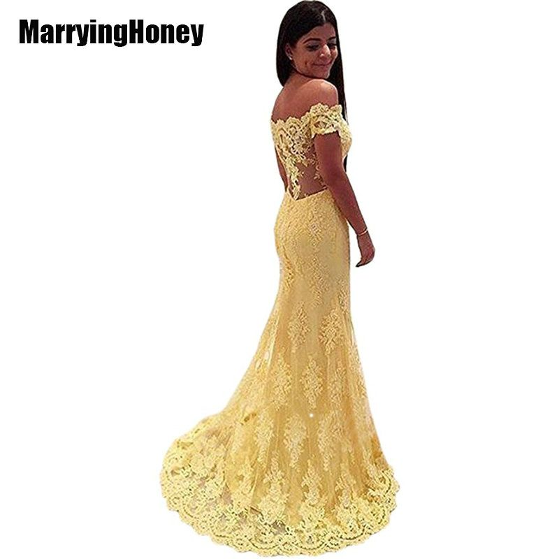 Sexy See Through Off Shoulder Evening Dresses 2017 Yellow Lace Mermaid Long Formal Dress Party Arabic Robe De Soiree